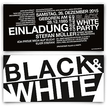 Geburtstag Einladungskarten 30 Stuck Black White Schwarz