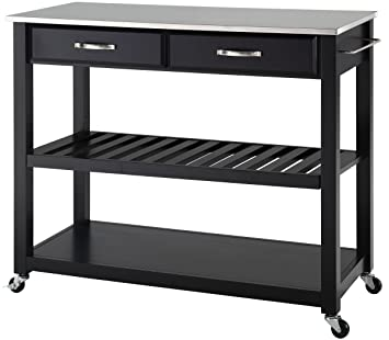 Crosley Furniture Portable Kitchen Cart With Stainless Steel Top   Black