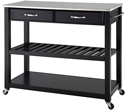 amazon com crosley furniture portable kitchen cart with stainless