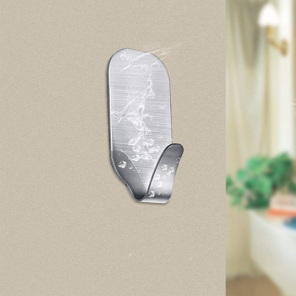 Pack of 8 FOTYRIG Self Adhesive Hooks Wall Hooks Stick on Sticky Hooks Stainless Steel Waterproof Hangers For Hanging Kitchen Bathroom Office Closet Home