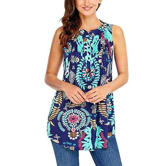 Overdose Blusa Sin Mangas De Las Mujeres Ocasionales Ocasionales Cuello Circular Impreso Tops Imprimir Suelta Camiseta