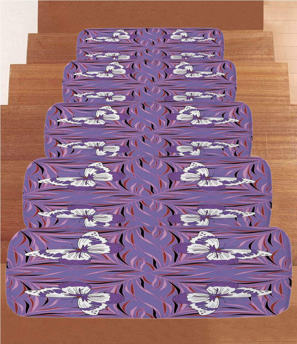 Non-Slip Carpets Stair Treads,Mauve Decor,Exquisite Butterfly Icons Spiritual Animal with Wings Fairy Illustration,Lavender White,(Set of 5) 8.6''x27.5''