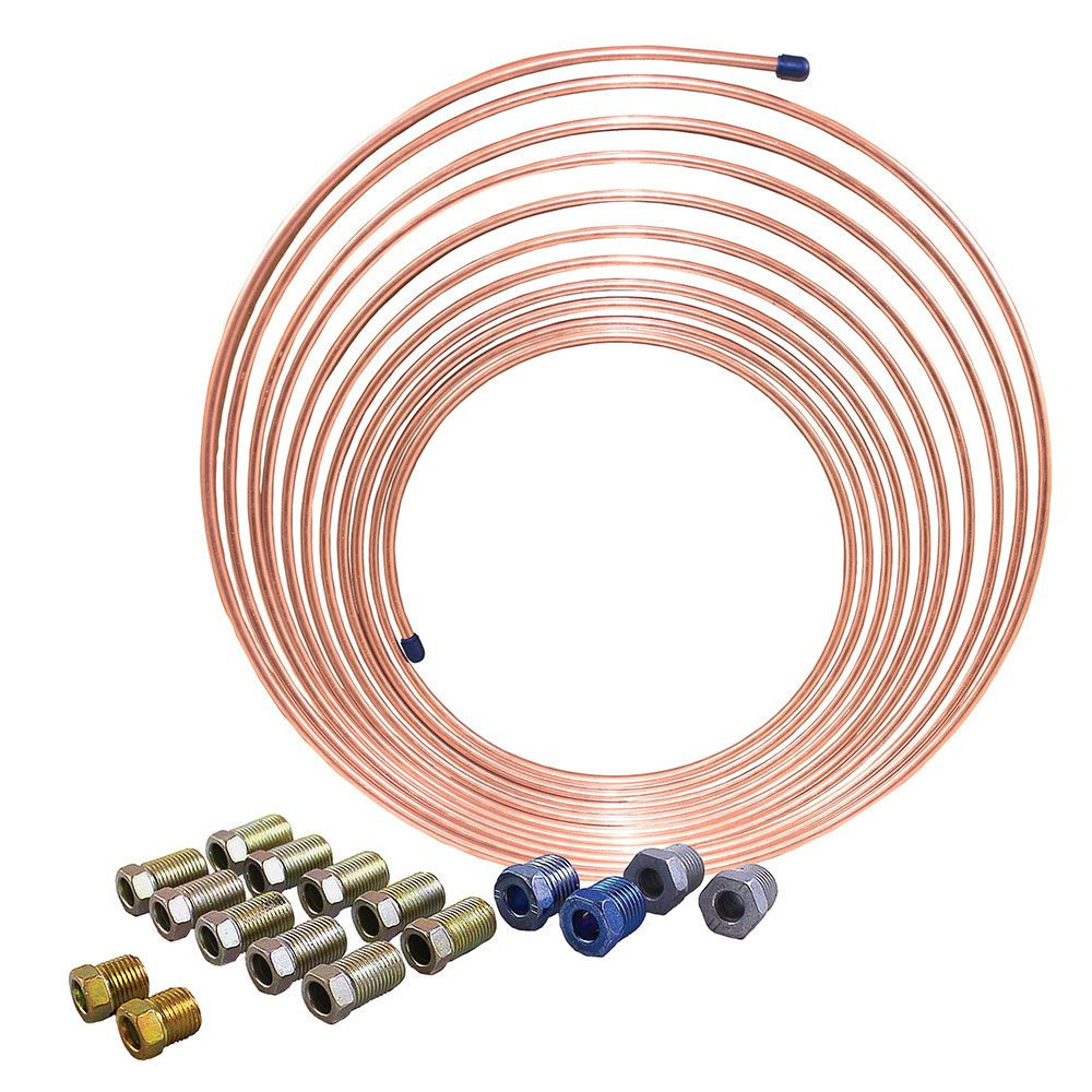 25 ft 1/4 in Coil Kit - Copper-Nickel Tubing - Brake, Fuel, Transmission Lines (Universal Size) .028'' Wall Thickness (Includes SAE Fittings)