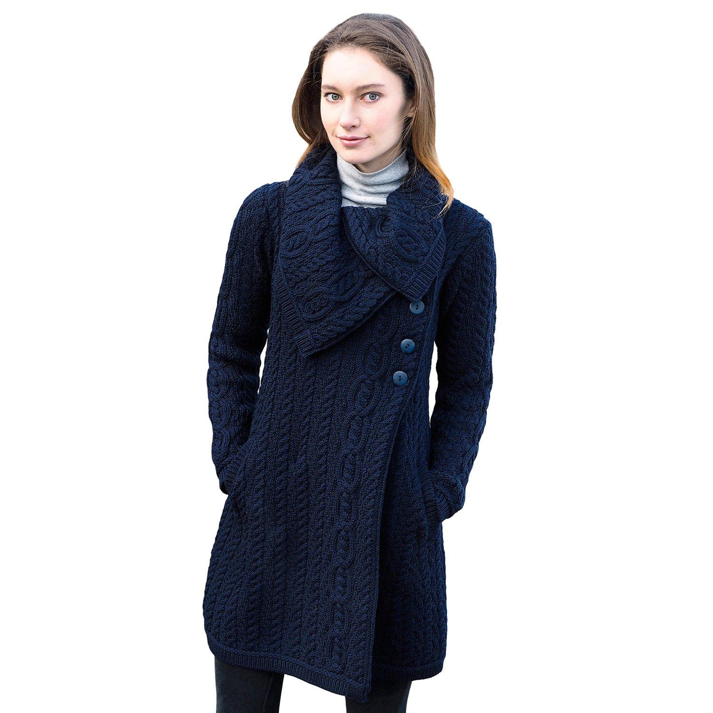 Ladies 100% Irish Merino Wool Chunky Collar Buttoned Aran Coat by West End Knitwear Large Navy