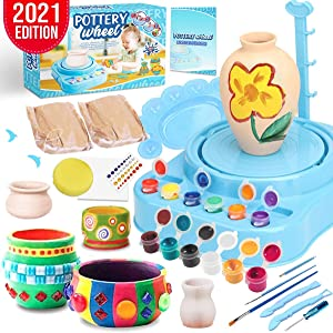 Insnug Pottery Wheel Art Craft Kit - Arts and Crafts Kids Toys Ages 8 9 10 11 12 Polymer Air Dry Modeling Clay Bar Tools Cutters and Wheel Machine, Craft Paint Palette Set Educational Toy Home School
