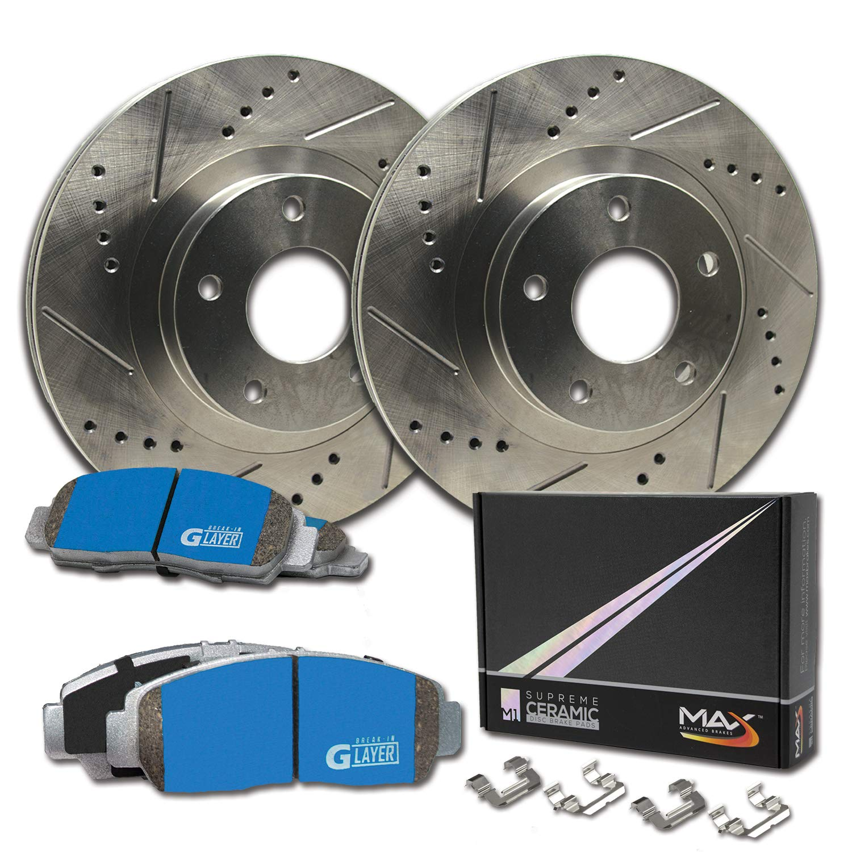 Max Brakes Front Supreme Brake Kit Premium Slotted Drilled Rotors Ceramic Pads KM026631