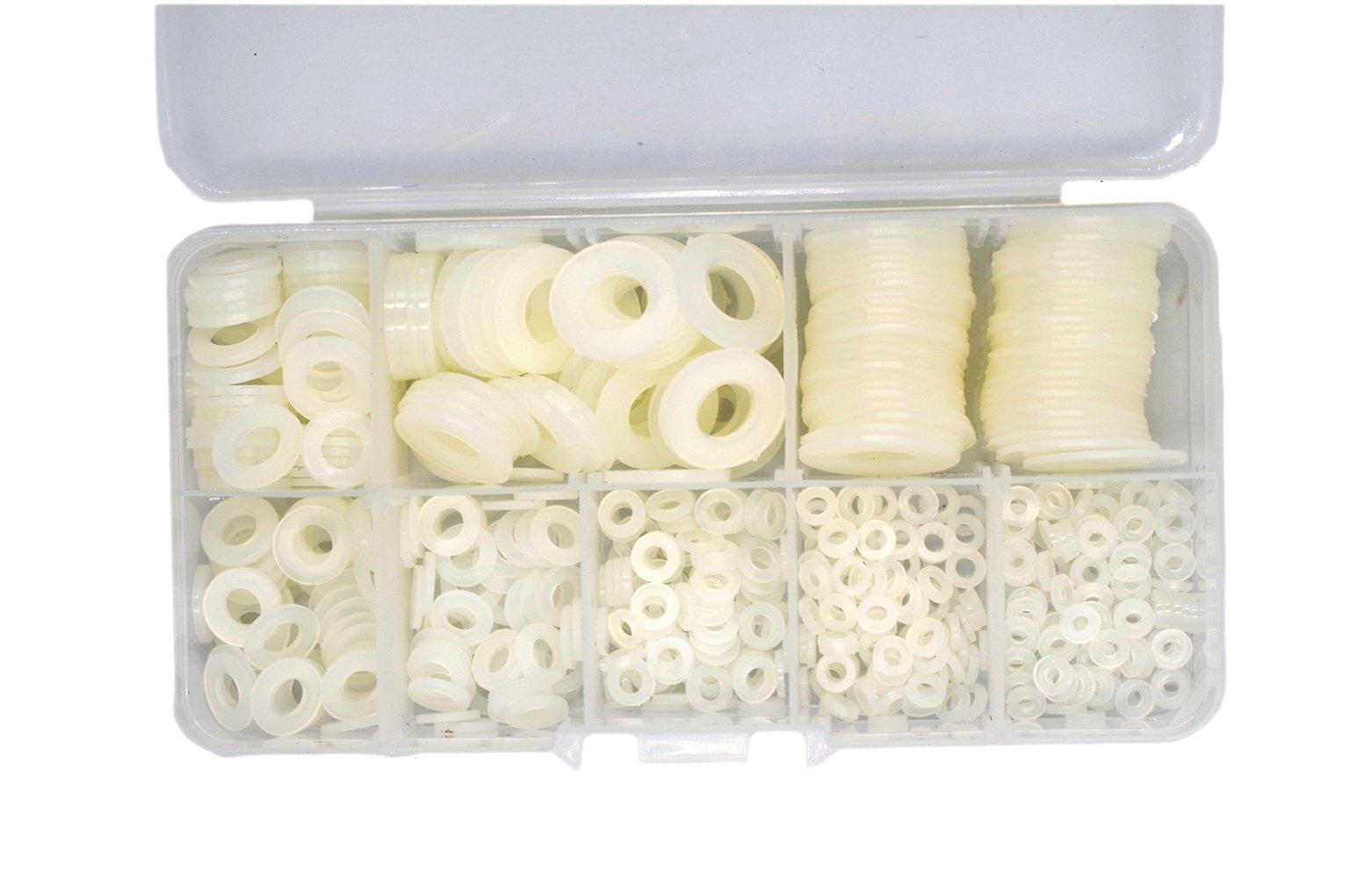 HVAZI 550PCS Nylon Flat Washer Assortment Kit For M2 M2.5 M3 M4 M5 M6 M8 M10 Screw/Bolt(white)