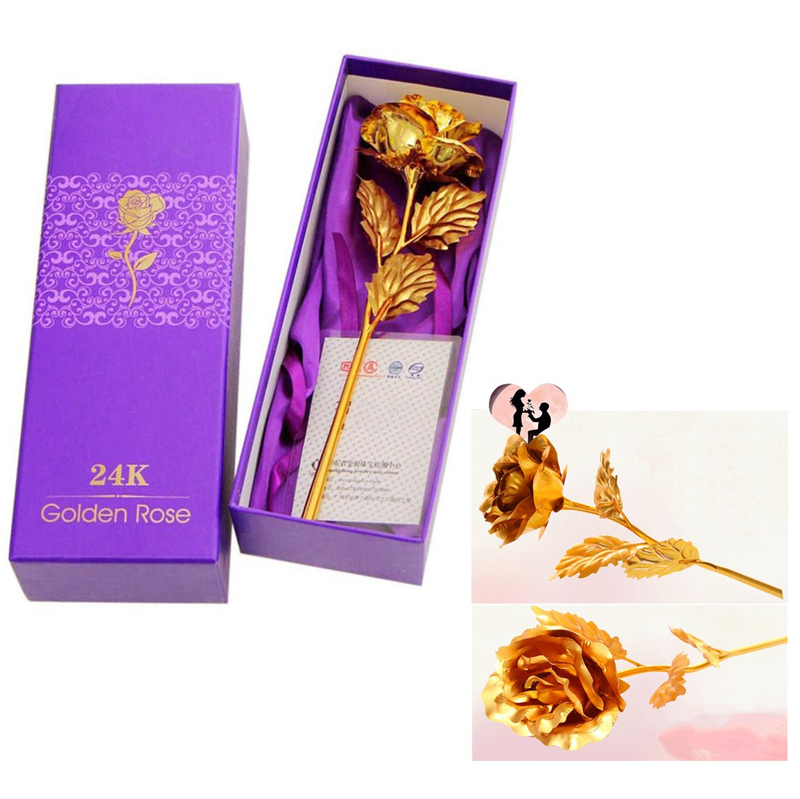 Cisixin Love Forever Long Stem 24k Gold Foil Trim Gold Rose Flower with Gift Box, Bouquet of Flower for Valentine's Day, Mother's Day, Anniversary, Birthday Gift, Wedding Home Decor DIY Mother' s Day