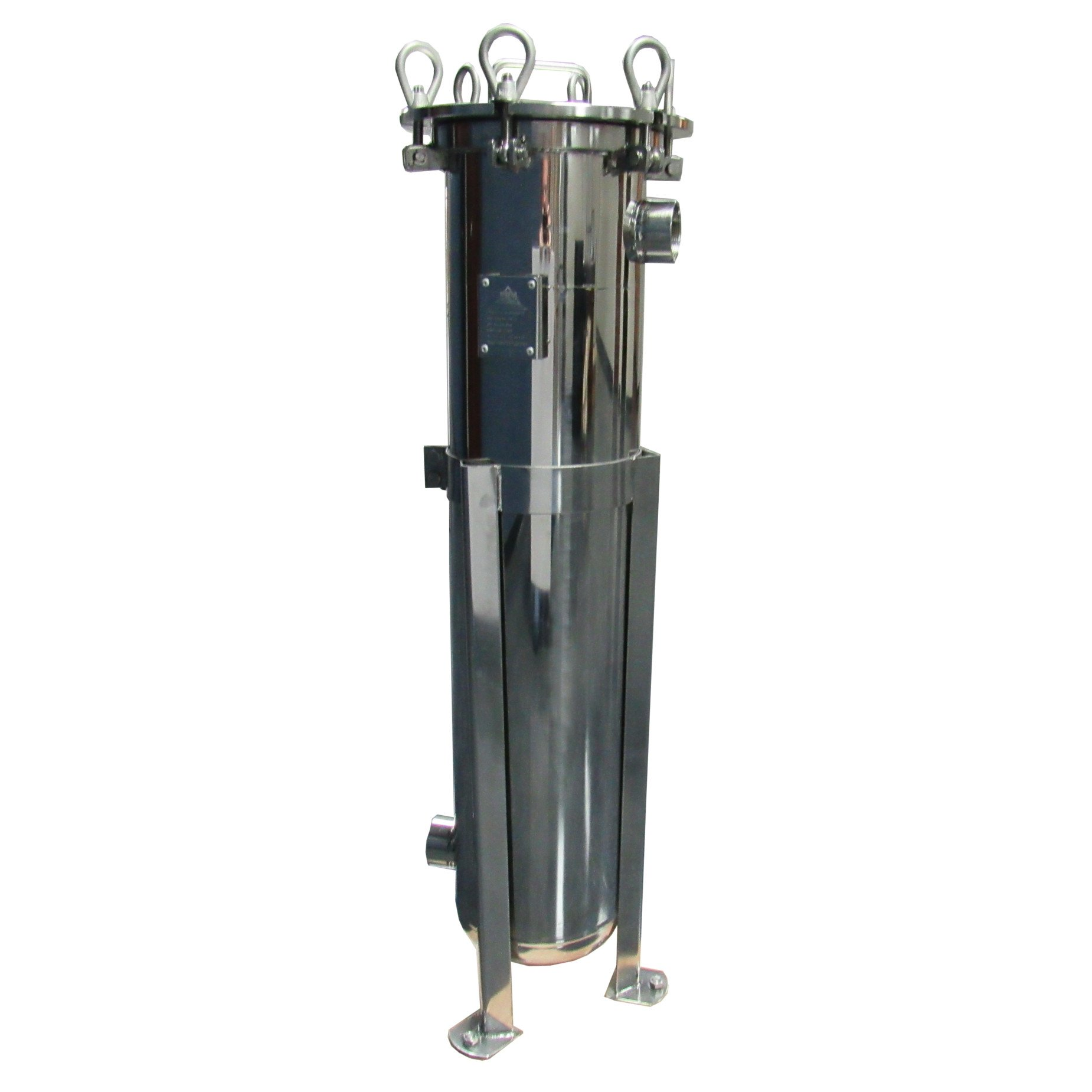 PRM BAG FILTER HOUSING; #2 SIZE; 304 SS; 2'' NPT IN/OUT; VITON O-RING; 150 PSI MAX.; FLAT PLATE TOP
