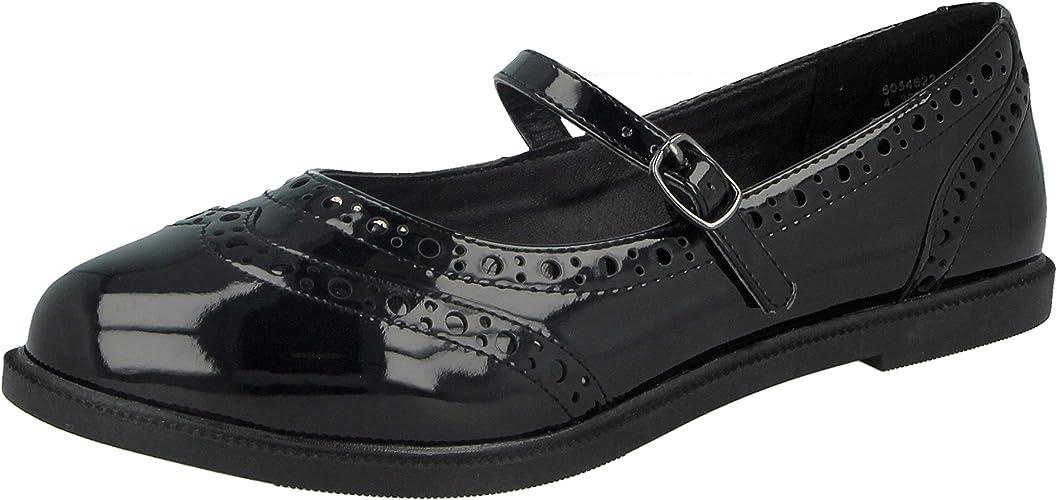 Ladies Girls Black Patent Faux Leather
