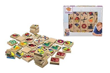 Eichhorn 100072402 - Bilder-Memo Spiel, 40 Steine mit 20 Motiven, FSC 100% Zertifiziertes Buchenholz, Made in Germany
