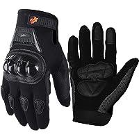 Street Bike Full Finger Motorcycle Gloves 09 (Med, black)