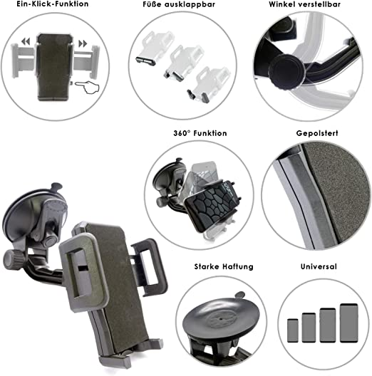 rot /& Wicked Chili KFZ Halterung mit Kugelgelenk kompatibel Sony DSX-A410BT MP3 Autoradio Dual Bluetooth, NFC, USB, AUX Anschluss, Beleuchtung, 4 x 55 Watt, Freisprechen