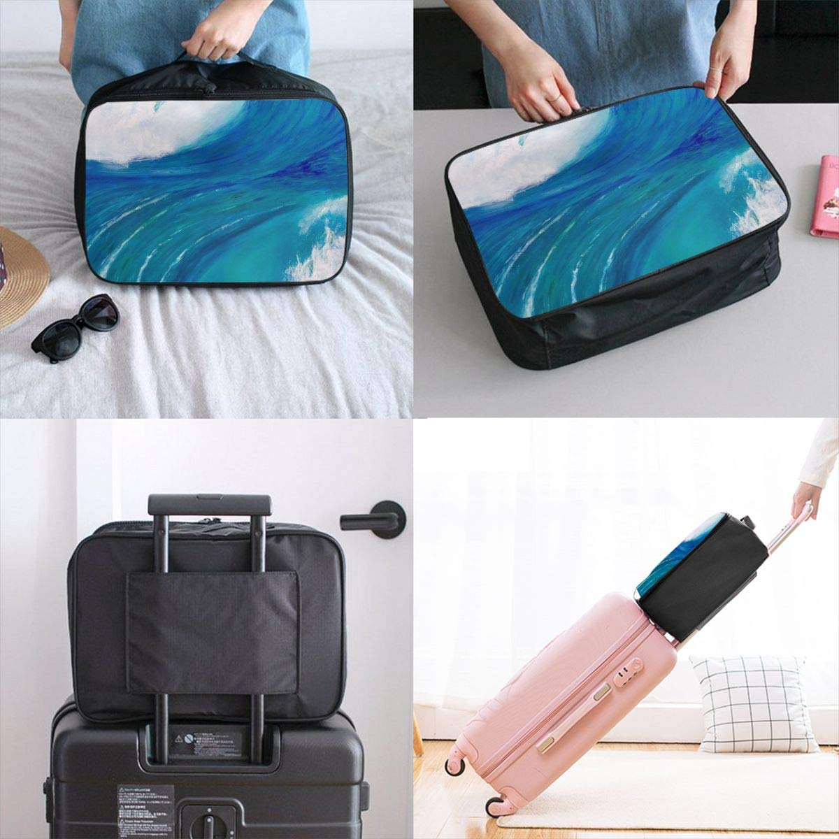 Yin Yang Waves Travel Lightweight Storage Carry Luggage Duffle Tote Bag