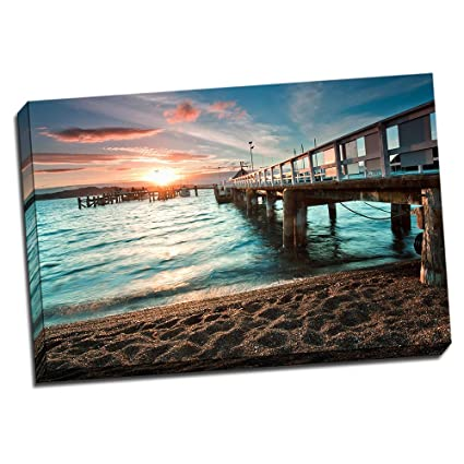 Amazon.com: Sunset by The Pier Canvas Wall Art 24x36 Stretched ...