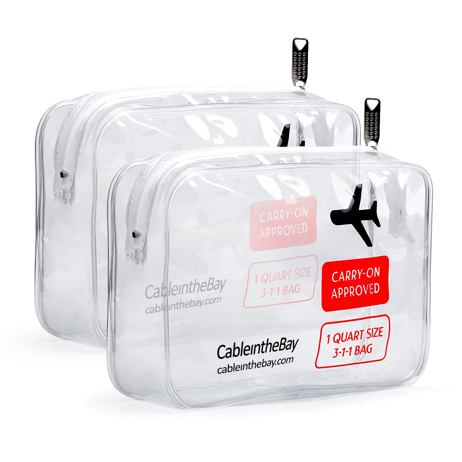Cableinthebay TSA Approved Clear Travel Toiletry Bag-Quart Sized with Zipper-Airport Airline Compliant Bag/Bottles-Men's/Women's 3-1-1 Kit+Travel EBOOK