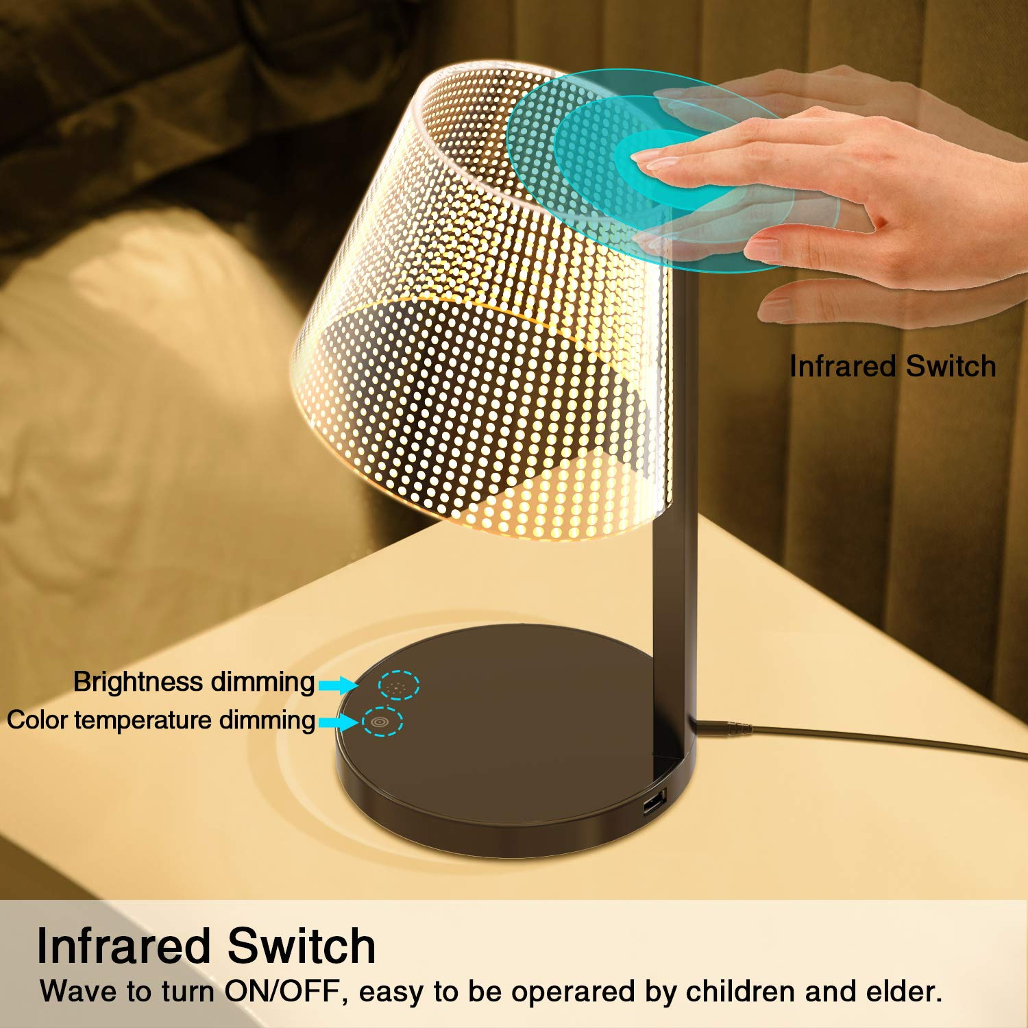 LED Table Lamp, Above Lights 7W Office Dimmable Desk Light with 10W Wireless Charger, Infrared Switch, Hidden Light Source, 5 Colors & Brightness, and USB Charging Port- Reddot Design Award by Above Lights (Image #3)
