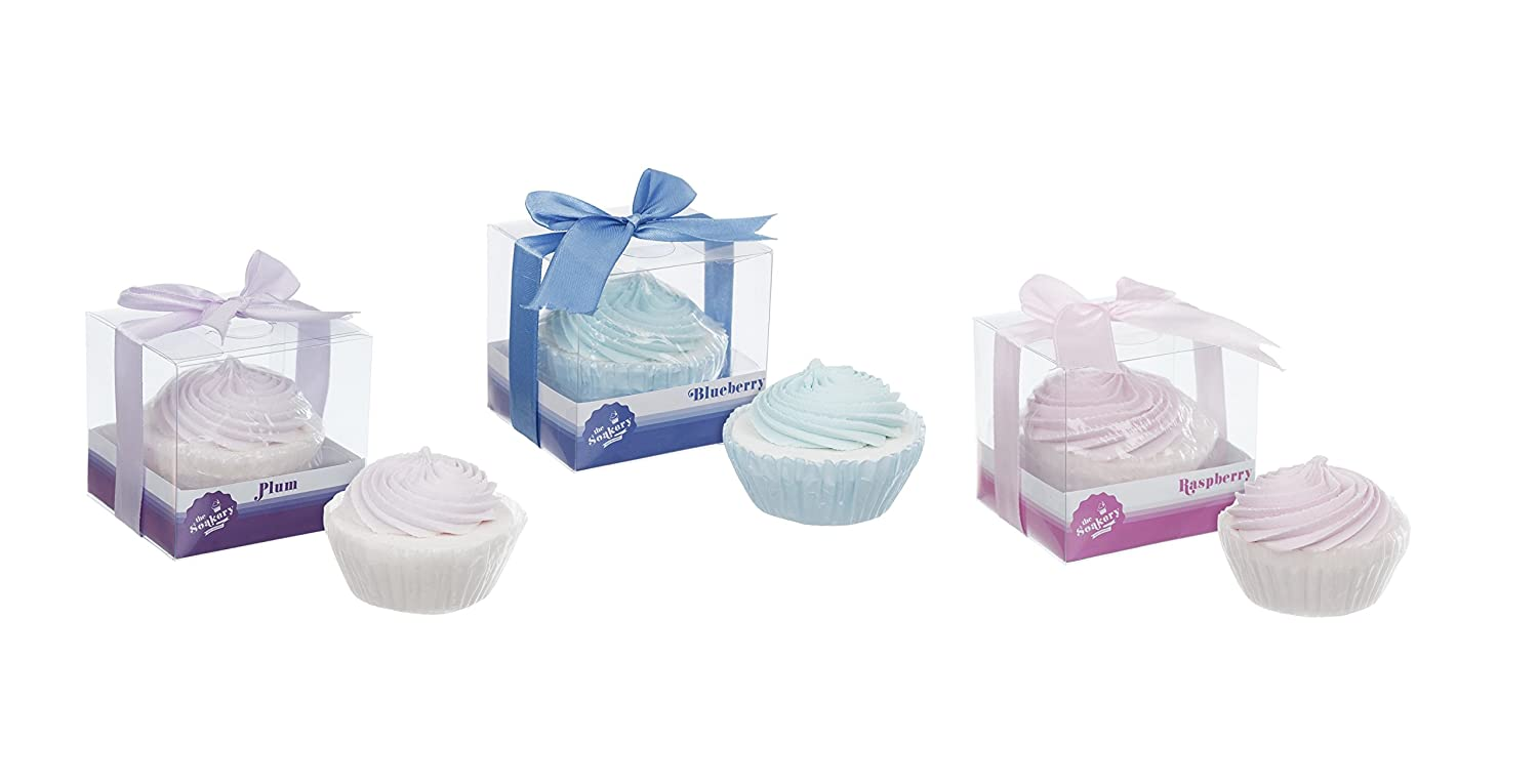 Invero® 3x Set of Lovely Cupcake Bath Bombs Includes Raspberry, Plum and Blueberry Fragrances Ideal for Gift or Personal Use (100g per bomb)
