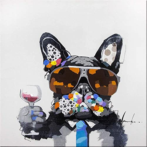 Bignut Wall Art 100 Hand Painted Cool Bulldog Holding Wine Glass Modern Funny Animal Dog Oil Painting Canvas Framed Decor For Home and Office Space 24x24inch