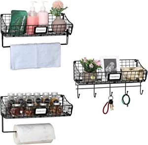 X-cosrack Wall Mounted Bin Basket with Hook Towel Bar Paper Rack 3 Pack-Small Wire Basket with Tag Slot Hanging Shelf,Rustic Farmhouse Decor,Slim Storage Organization for Pantry Kitchen Bathroom