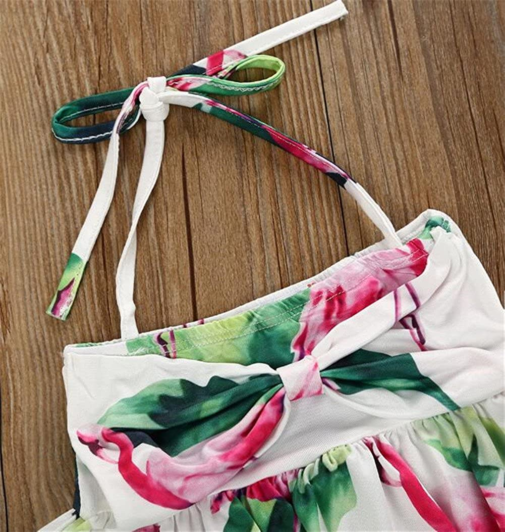 Toddler Baby Girls Floral Two-Pieces Halter Tankini Swimsuit Ruffles Bikini Swimwear