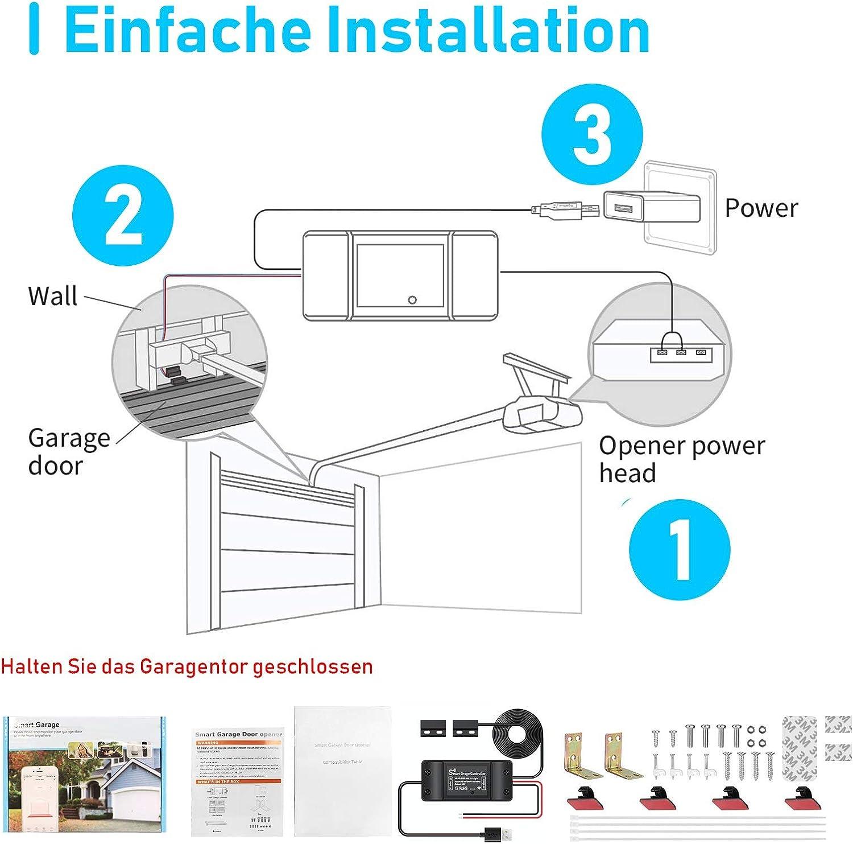 Compatible con Alexa Google Assistant y SmartThings Aoycocr Se Puede Usar con el Control Remoto Original de la Puerta de Garaje Existente Smart Wi-Fi Controlador de Puerta de Garaje