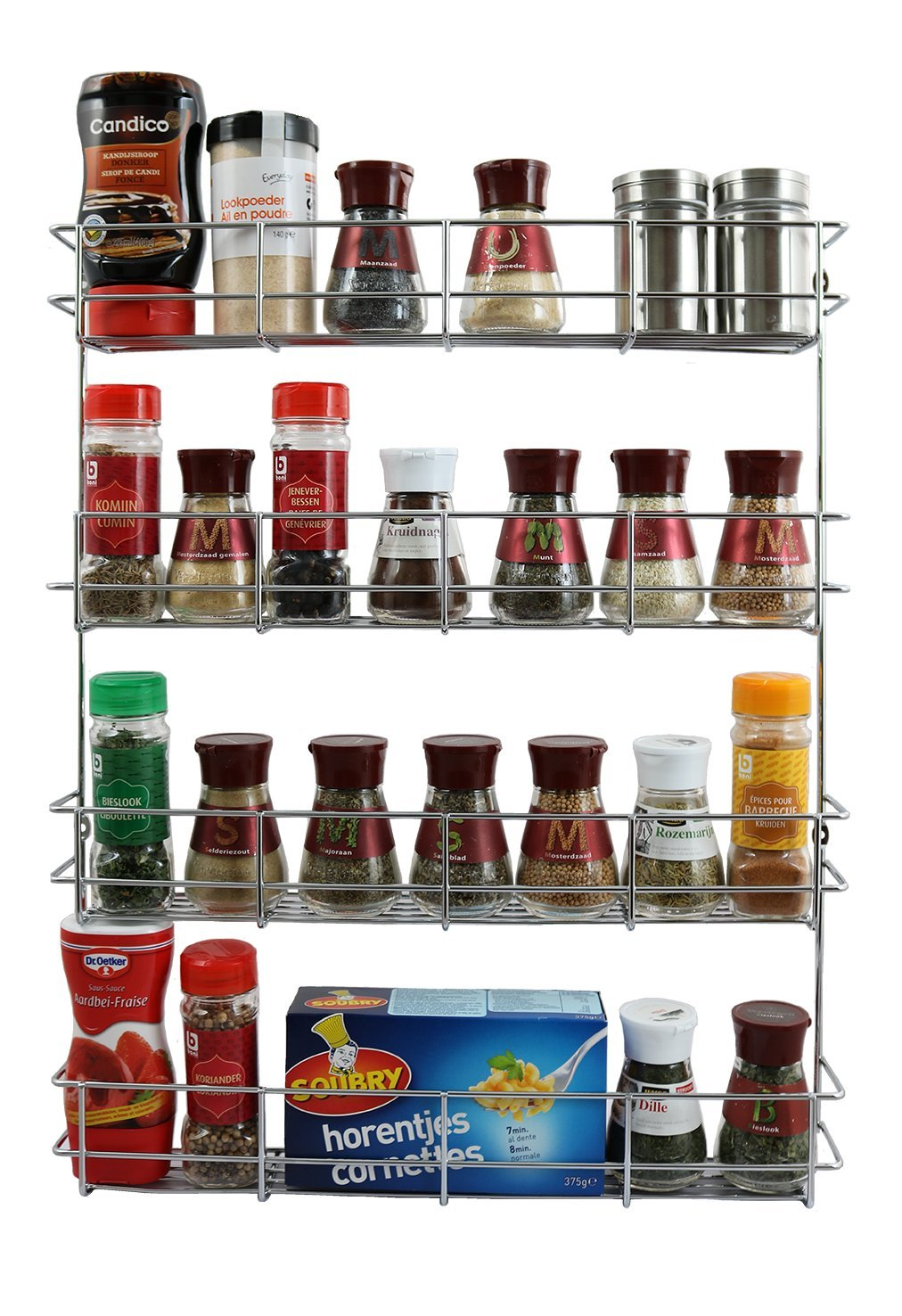 4 Tier Spice Rack - Cabinet Door and Wall Mountable Spice Rack - Herb Rack Chrome - Kitchen Cupboard Storage Organizer by Coninx - Holds 32 Jars