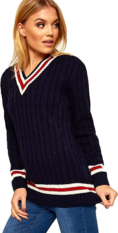 Femme col V Câble Tricot Extensible à manches longues Cricket Sweater Pull