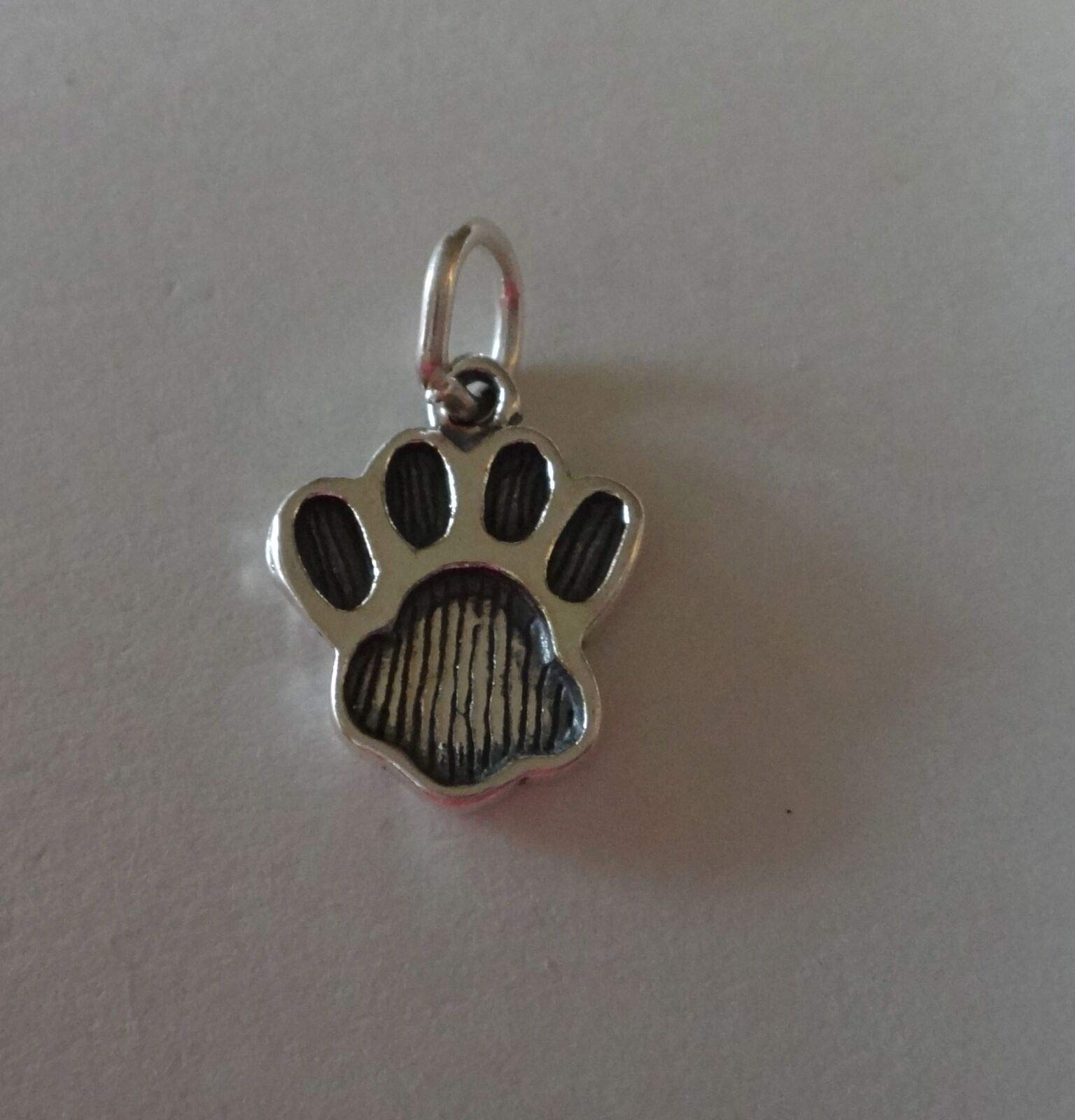 Sterling Silver Small 15x12mm Dog Bear Panther Lion Cat Tiger.Paw Print Charm