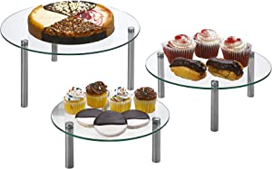 """3 Tier Round Tempered Glass Display Stand 9, 11, 13"""" for Cake, Cupcakes, Desserts, Bakery, Appetizers – Set of 3 Glass Retail Display Raiser. (Clear)"""