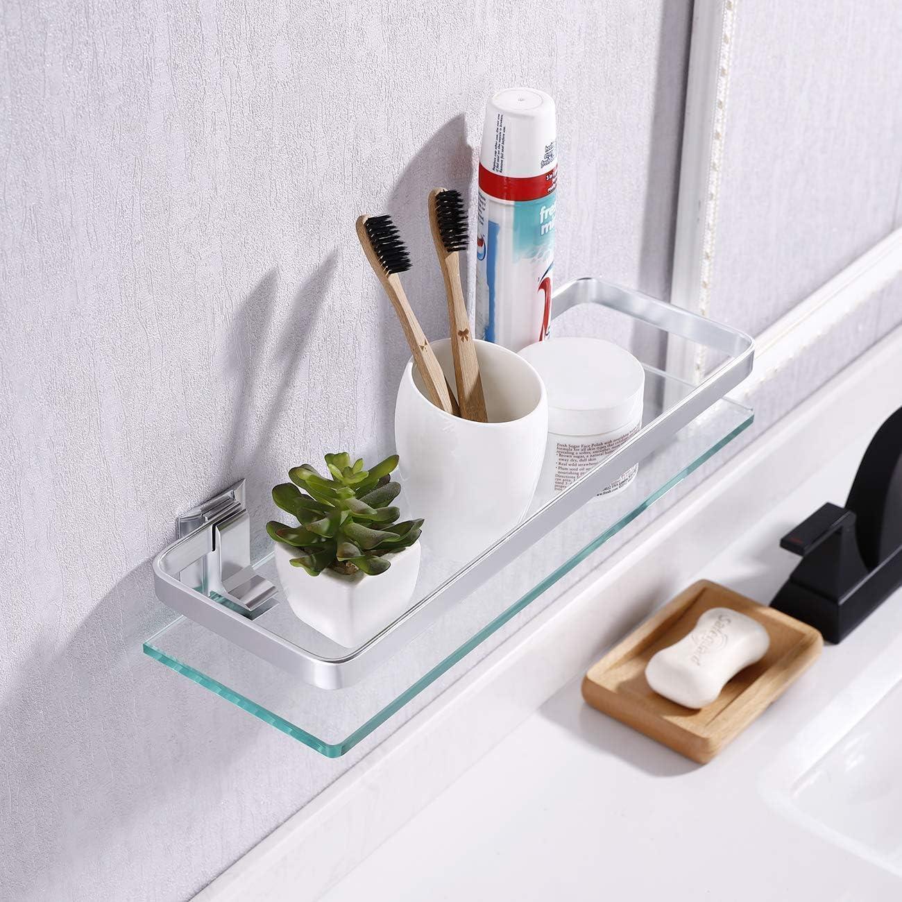 Umi von  Glasregal Wandregal Wandablage Badezimmer 8mm geh/ärtetes Glas Regal Wandhalterung Aluminium eloxiert A4126A