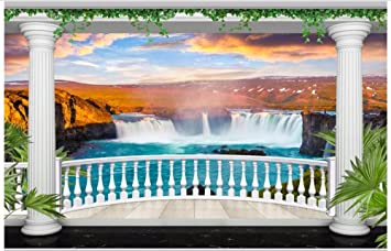 Chlwx 3D Wallpaper Custom 3D Wandbilder Tapeten Europäischen Garten Balkon  Wasserfall Landschaft Wallpaper 3D Hintergrund