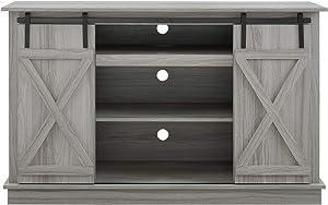 Home SourceQuance Grey TV Standwith Barnyard Doors
