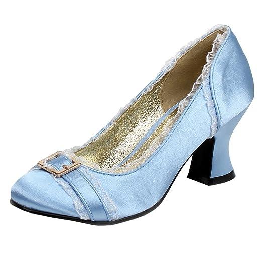 7b9ba18281f01 Womens Chunky Heel Pumps Satin Shoes Round Toe Blue Ivory Pink 2 1/2 Inch  Heels