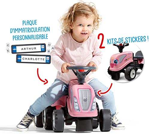 From 12 Months 2 Styles of Customisable Number Plate-288C Shovel and Rake Included Made in France 288C Falk Girly New Holland Tractor with Trailer