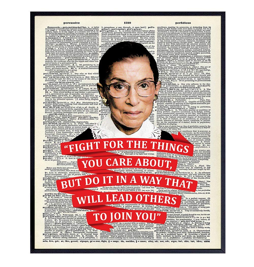 Ruth Bader Ginsburg Wall Art Quote - RBG Dictionary Home Decor - 8x10 Photo, Contemporary Poster Print - Motivational, Inspirational Gift for Attorney, Lawyer, Judge - Unframed Picture