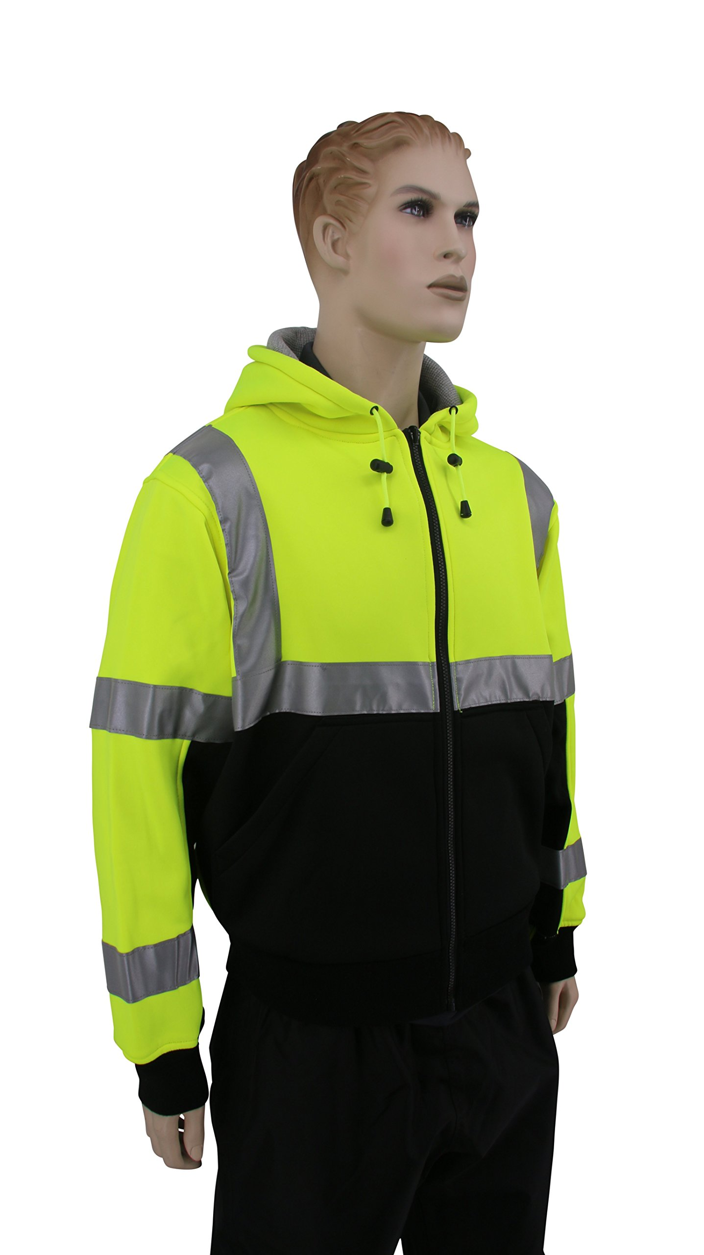 Brite Safety Style 5010 Hi Viz Sweatshirts for Men or Women   Safety Hi Vis Hoodie, 2-Tone Sweatshirt   Thermal Liner, Full Zip 16oz, with 3M Reflective Tape   ANSI 107 Class 3 (4XL) by Brite Safety (Image #5)