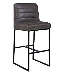 "Rivet Decatur Modern Barstool with Back, 42""Ht, Gray"