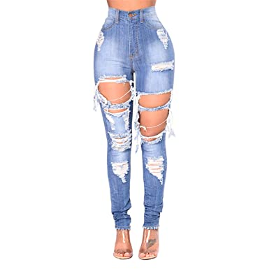 Densoa Ripped Jeans For Women Hole Jeans Destroyed Skinny Jeans Femme 00897723fbc3