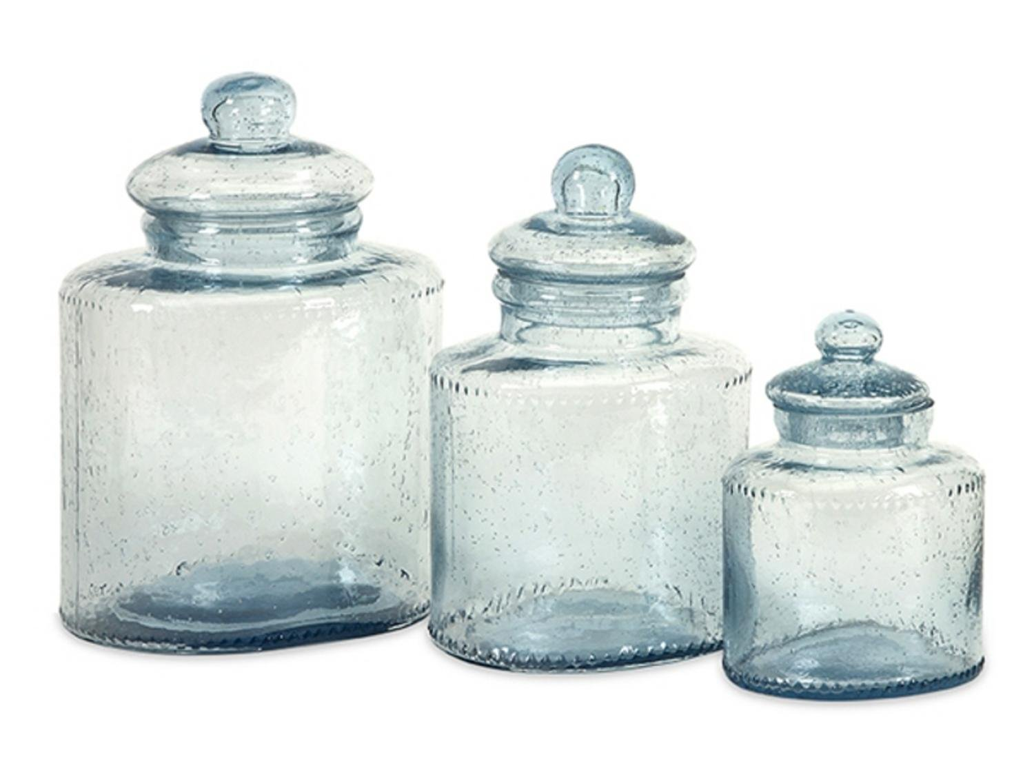 Set of 3 Celina Pale Blue Bubbled Glass Lidded Kitchen Canisters by CC Home Furnishings