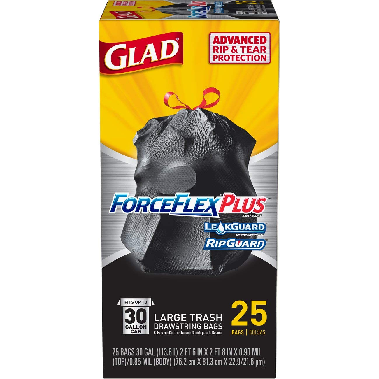 Glad Large Drawstring Trash Bags – ForceFlexPlus 30 Gallon Black Trash Bag - 25 Count