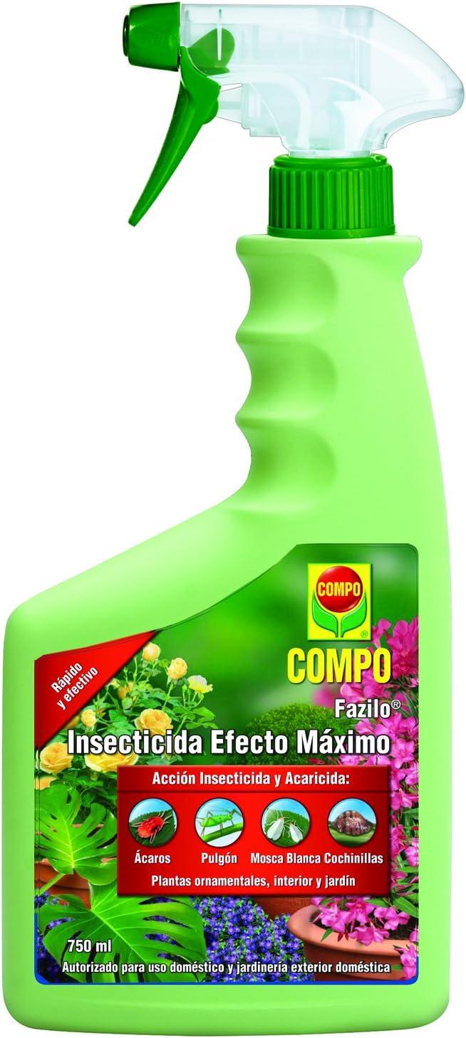 Compo Fazilo Efecto Máximo, Acción insecticida y acaricida, Plantas Ornamentales, de Interior y jardín, Envase pulverizador, 750 ml, 26x11x5 cm