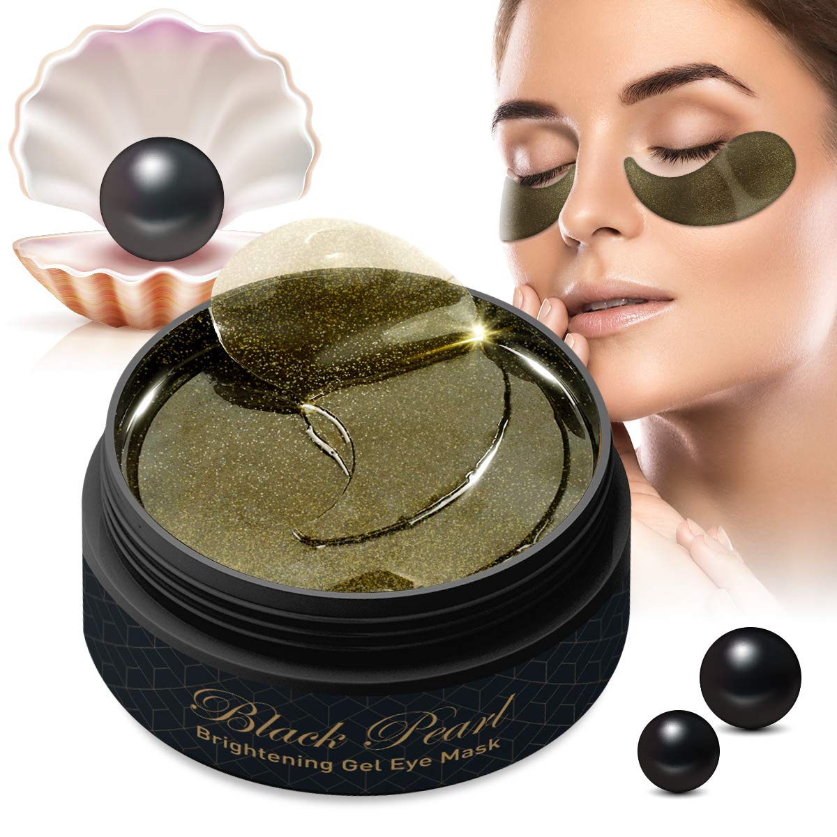 Black Pearl Collagen Eye Masks by Puriderma [60pc Set] Brightening Hydrogel Under-Eye Patches with Retinol to Rejuvenate Skin, Reduce Dark Circles, Fine Lines, Wrinkles by Puriderma