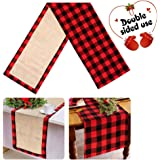 AerWo Cotton & Burlap Buffalo Check Table Runner, Christmas Reversible Buffalo Plaid Table Runner for Christmas Table Decoration, Lumberjack Themed Birthday Party Decorations. 14 x 72 Inch