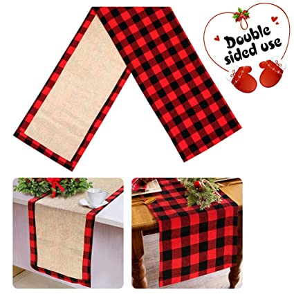 aerwo cotton burlap buffalo check table runner christmas reversible buffalo plaid table runner for - Christmas Plaid Table Runner