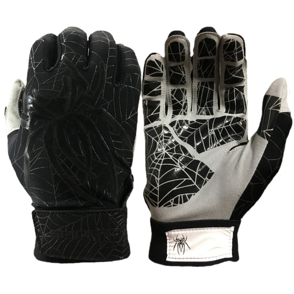 Spiderz Lite Batting Gloves with Enhanced Silicon Spider Webグリップ B077J7FM14 Adult Large|ブラック/チャーコール ブラック/チャーコール Adult Large