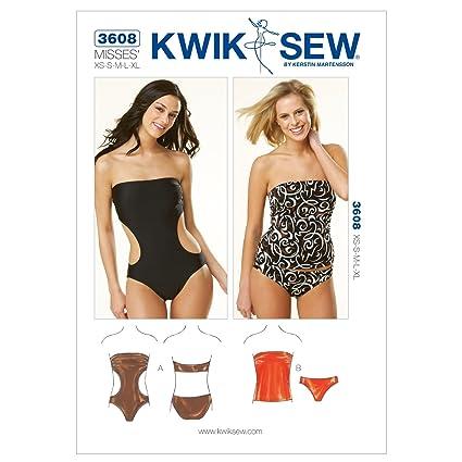 Amazon.com: Kwik Sew K3608 Strapless Swimsuits Sewing Pattern, Size ...