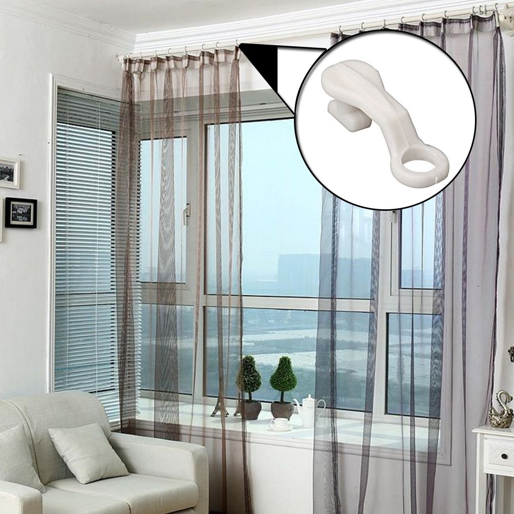 Plastic Curtain Rail Track Gliders Hook for Window Door Shower Curtains pack of 40 Ruix Curtain Glider Hooks