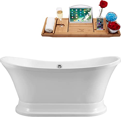 Streamline Freestanding Soaking 68 N201CH Acrylic Bathtub, White Comes with External Drain And Chrome Overflow Bamboo Tray Included