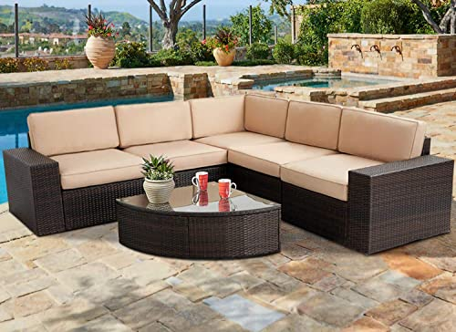 SUNCROWN Outdoor Furniture 6-Piece Patio Sofa and Wedge Table Set